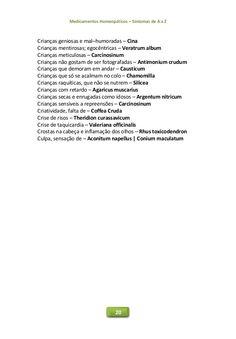 Medicamentos Homeopáticos – Sintomas de A a Z 20 Crianças geniosas e mal–humoradas – Cina Crianças mentirosas; egocêntrica...