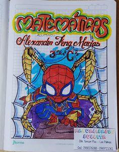 caratula spiderman Card Drawing, Grammar Book, Border Design, Goku, Spiderman, Pikachu, Bullet Journal, Kawaii, Lettering