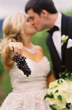 cute vineyard wedding picture