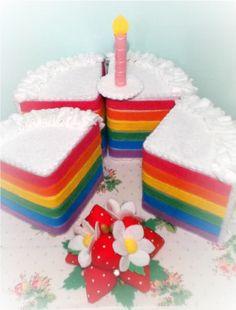 beautiful full sized rainbow strawberry candle felt sliced FOOD CAKE. $45.00, via Etsy.