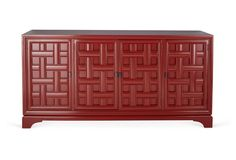 "Jesse 76"" Woven-Front Buffet, Red"