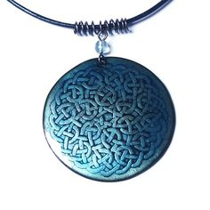 Hana Bendová - necklace with celtic knot (enamel on copper, steel wire, glass bead, leather)