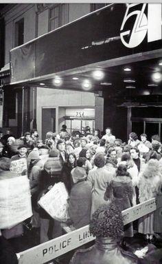 Crowd outside Studio 54. 1970's