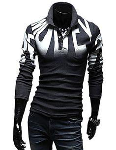 Uyuk Men's Casual Dark Gray Stand Ncek Floral Print Long Sleeve T Shirt 1260021 2016 – £4.90