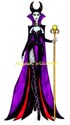 #Hayden Williams Fashion Illustrations. The Disney Diva Villainess collection by Hayden Williams: Maleficent