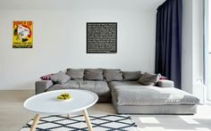 Interior design with Scandinavian elements and a collection of pop art_ livingroom_realization of interior One Bedroom Apartment, Pop Art, Couch, Bratislava, Living Room, Interior Design, Architects, Scandinavian, Table