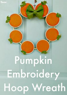 Embroidery Hoop Pumpkin DIY Fall Wreath