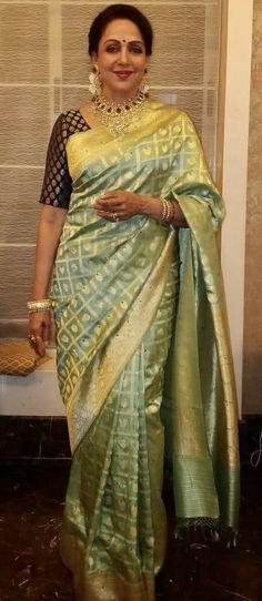 37c9cb9a4a Hema Malini poised in Warp 'n Weft Chouka Banarasi in Pure Silver Zari for  Akash Ambani reception