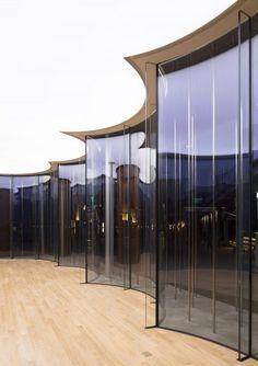 "Schmidt Hammer Lassen Architects Design Floating ""Cloud Pavilion"" on Shanghai's Waterfront,Photography by Peter Dixie. Image Courtesy of Schmidt Hammer Lassen Architects Architecture Tumblr, Pavilion Architecture, Futuristic Architecture, Architecture Details, Interior Architecture, Glass Building, Building Design, Facade Design, Exterior Design"