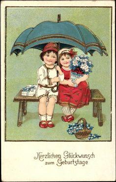 Postcard Glückwunsch Geburtstag, Zwei Kinder auf einer Sitzbank, Blumen, Schirm