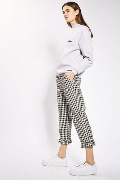 Gingham Frill Hem Trousers
