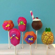 12 Luau Cake Pops Birthday Party Favors Pineapple Flip Flop Hibiscus Pineapple Coconut Beach Wedding
