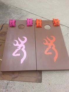 DIY: Chase and I's cornhole boards (: took a lot of time but they look good!