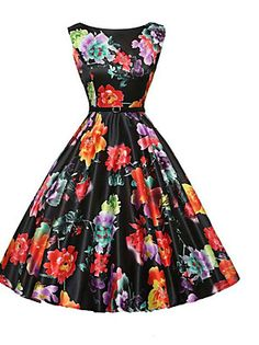 Women's Casual/Daily Vintage A Line Dress,Floral Round Neck Knee-length Sleeveless Black Cotton Summer