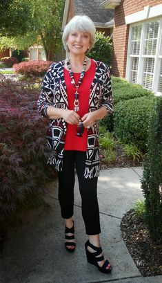 I wore a Chico's sweater over my Simple Comfort Covered Perfectly top and Chico's cropped pants. The shoes are from BBGenration via Ross. The necklace was a long ago gift. Fifty, not Frumpy: May 2014
