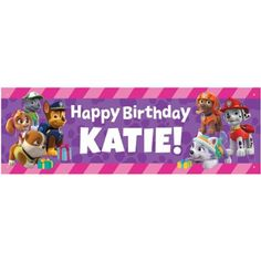 Personalized Paw Patrol Party Pups Birthday Banner - Walmart.com