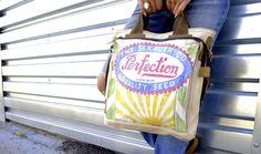 Vintage seed sacks up cycled into OOAK handbags from Selina Vaughan Studios