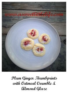 Homemade plum ginger jam is the star of this soft, buttery almond shortbread thumbprint adorned with oatmeal crumble and an almond glaze.