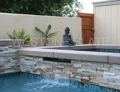desert quartz ledgestone tiles for swimming pool Stacked stone veneer panels, ledger stone veneer panels project , which used in project of residential house or commercial building projects. Best Exterior Paint, House Paint Exterior, Wall Exterior, Rustic Outdoor Spaces, Stone Veneer Panels, Swimming Pool Tiles, Pool Remodel, Backyard Makeover, Cool Pools