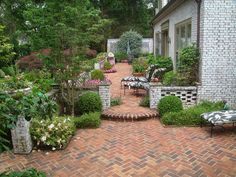 Patio pavers can be made of concrete, brick or stone. Their popularity as patio flooring is really big as pavers are installed quickly and allow various Outdoor Patio Pavers, Backyard Patio, Patio Slabs, Concrete Patio, Diy Patio, Patio Design, Garden Design, Brick Design, Courtyard Design