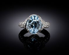 This stunning aquamarine ring was designed by Jean Schlumberger for Tiffany & Co. ~ M.S. Rau Antiques