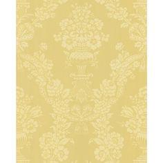 Brewster Light Yellow Floral Damask Wallpaper