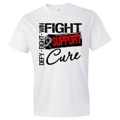 "Carcinoid Cancer Fight Support Cure Men's Fashion T-Shirts featuring the words ""Fight, Defy and Win"" and a grunge design with a distressed awareness ribbon to make a statement for activism #CarcinoidCancer #CarcinoidCancerAwareness #CureCarcinoidCancer"