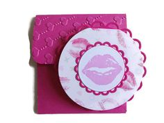 Round Valentine Cards 6 Kissing Lips Cards by lilaccottagecards