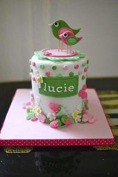 Spring Birthday cake with bluebird hi Im Ailson and I LoVe
