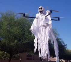 Grab your drone and some Halloween decorations and have yourself a spooky time flying around the neighborhood.
