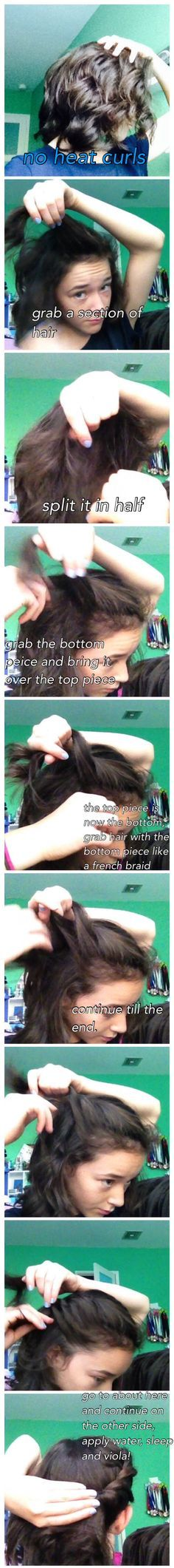 No heat curls! A twist braid that anyone can do! You could do it out of the shower and keep it in over night etc. no products, no heat! Easy and fast just the way we like it! To keep you hair healthy and shiny! Hope you enjoy!