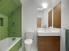 Green tile stands out in a great way