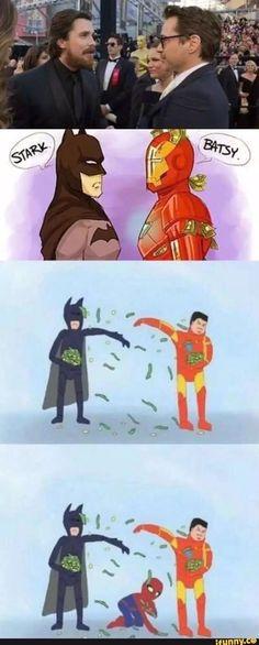 Batman vs Iron Man Meme HAHAHA Love this. Spiderman makes it haha Marvel Jokes, Funny Marvel Memes, Dc Memes, Marvel Dc Comics, Funny Memes, Hilarious, Funny Quotes, Funny Batman, Avengers Humor