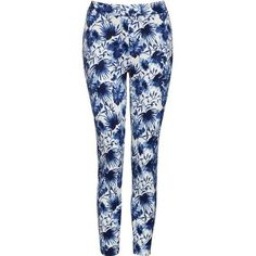 Floral Print Scuba Trousers ($31) ❤ liked on Polyvore featuring pants, flower print pants, floral printed pants, blue pants, floral pants and floral trousers