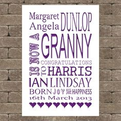 Personalised new grandparent/birthday gift idea memories UNFRAMED A4 print su