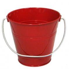 "Red Metal Bucket 5"" H x 6"""