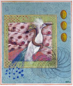 """This work is from a series called """"American Miniatures"""". They are small works on paper…personal symbolic confections inspired by the contemporary Persian miniature painting of Shahzia Sikander. She…"""