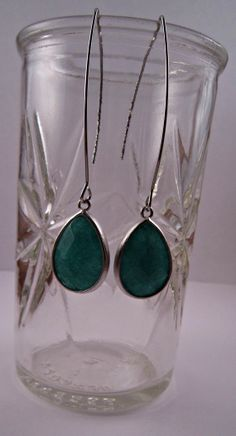 Silver green jade dangles by caitibabe10 on Etsy, $28.00