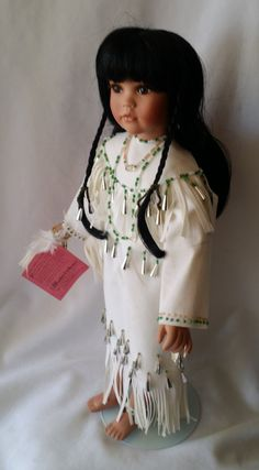 """Native American Indian Porcelain Doll Vintage 16"""" Doll Created By Patricia Rose for Paradise Galleries by FugitiveKatCreations on Etsy"""