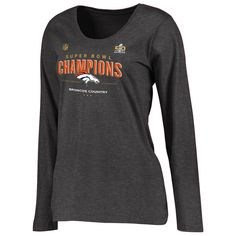 9df140ed2 Women s Denver Broncos Dark Gray Super Bowl 50 Champions Trophy Collection  Locker Room Scoop Neck Long Sleeve T-Shirt