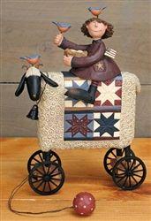 Williraye Studio Girl on Sheep Pull Toy Figurine WW7891