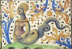 Hybrid woman, wearing headdress, with lower body of serpent | Book of Hours | France, Avignon | approximately 1485-1490 | The Morgan Library & Museum