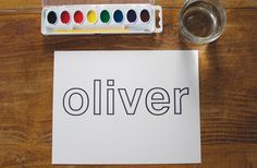 Watercolor name painting preschool-letters-and-literacy **We've done activities like this before. The children love creating works of art with their names. Preschool Names, Name Activities, Preschool Literacy, Alphabet Activities, Writing Activities, Toddler Preschool, Toddler Crafts, Preschool Activities, Preschool Letters