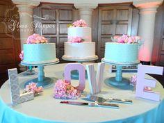 trio of swiss dot buttercream wedding cakes #paleblueandpink #modernvintage