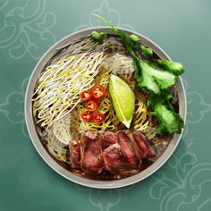 Pho Beef noodle soup - vietnamese noodle - Food illustration