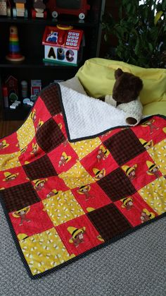 Curious George Fabric Quilt w/ Curious George Stuffed Animal ... : curious george quilt - Adamdwight.com