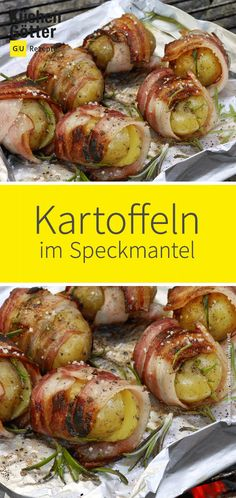 Knuspriger Speckmantel, würziger Kräuterduft: Unsere leckeren Kartoffeln im Ro… Crunchy bacon, spicy herb fragrance: Our delicious potatoes in rosemary and bacon coat are ideal for a day on the grill. Quick and easy to prepare. Bacon, Grilling Recipes, Crockpot Recipes, Rosemary Potatoes, Hamburger Meat Recipes, Hamburger Casserole, Evening Meals, Ground Beef Recipes, Vegetarian Recipes