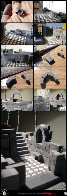 Domus pr. 54-76: Stone bench and built-in shelf  - The Domus project is the construction in scale 1:50 of an imaginary medieval palace. It's made of clay, stones, slate, wood and other construction materials in the style of rich genoese buildings from the middle of XIV century.