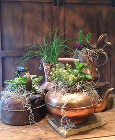 02 vintage metal tea pot planters with various arrangements - Shelterness Garden Planters, Indoor Garden, Garden Art, Indoor Plants, Outdoor Gardens, Planter Pots, Balcony Garden, Diy Planters, Container Plants