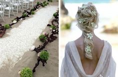 old root driftwood down aisle w/ succulents shells and painted sand